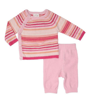 Cuddl Duds Pink Raglan Knit Cardigan and Pant Set