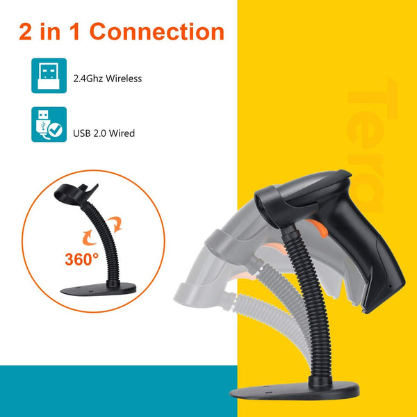 Tera 1D Wireless 2.4G USB Wired Laser Barcode Scanner with Stand EVHK0023