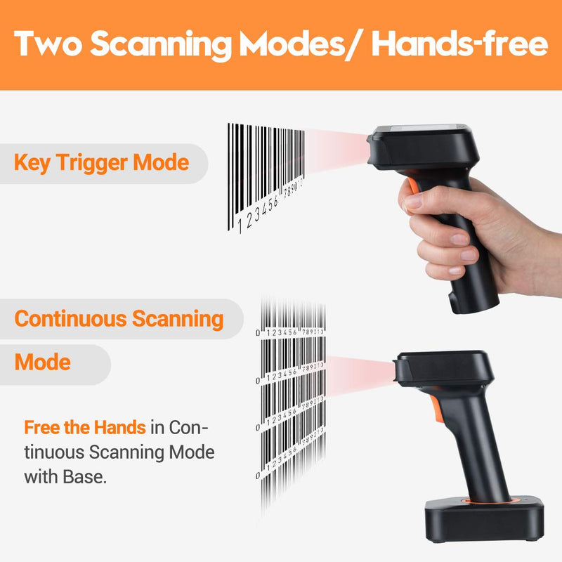 Tera 2D QR 1D Bluetooth Barcode Scanner Wireless with Display Screen and Charge Base model: HW0006