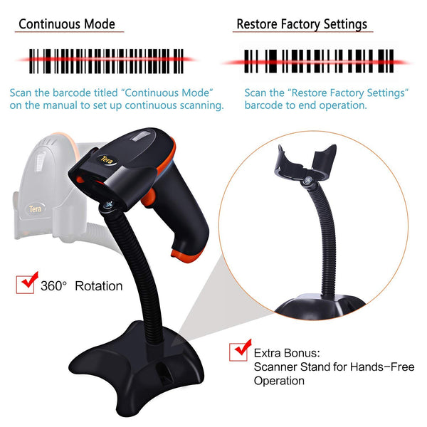 Tera Laser Barcode Scanner With Stand Wireless Versatile 2-in-1