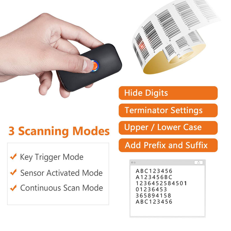 Tera  Mini Wireless Bluetooth 1D 2D QR Barcode Scanner