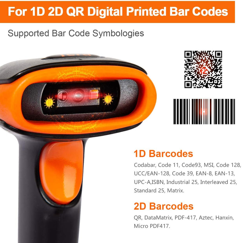 Tera Wireless 2D QR Barcode Scanner with Stand