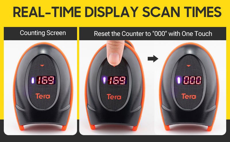 Tera 2D QR 1D Barcode Scanner Wireless with USB Charging Cradle 3-in-1(USB Cradle, Charging Base, Receiver) with One-touch Reset Counting Screen model: HW0008