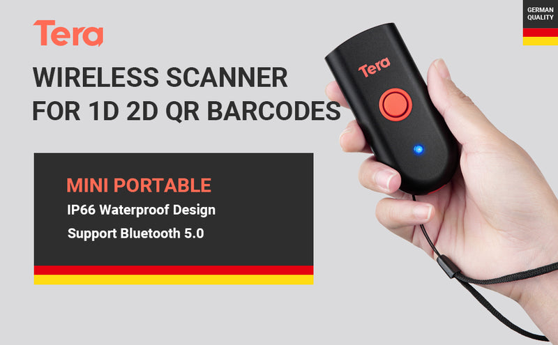 Tera 2D QR Bluetooth Barcode Scanner Mini Portable Wireless Bar Code Reader 3 in 1 (2.4G Wireless & USB Wired & Bluetooth) for Screen Digital Barcodes MAC OS, IOS, PC, Phone
