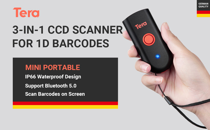 Tera Bluetooth Portable Barcode Scanner Mini Wireless 1D CCD Bar Code Reader 3 in 1 (2.4G Wireless & USB Wired & Bluetooth) for Screen Digital 1D Barcodes