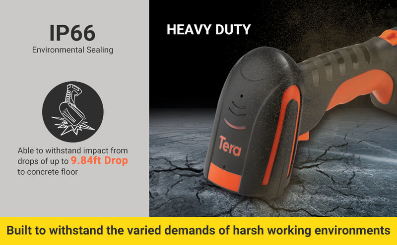 Tera Bluetooth Barcode Scanner Wireless 1D Laser Handheld Code Scanner Compatible Bluetooth&2.4G Wireless&USB Wired Extreme Drop Resistance