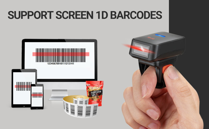 Tera Bluetooth Mini Finger Barcode Scanner Wireless, Ring Barcode Scanner CCD Portable Wearable Bar Code Reader Fast Scanning for Screen Digital 1D Barcodes Work with Windows Mac OS Android IOS