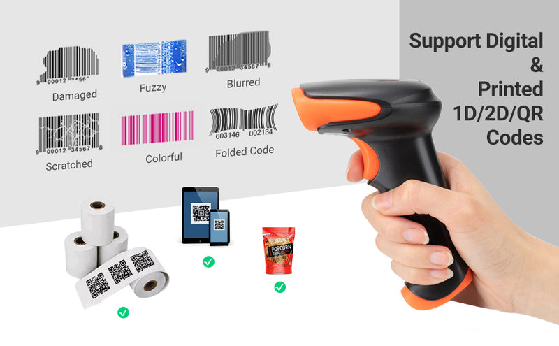 Tera Pro Wireless Barcode Scanner Bluetooth 2D QR Bluetooth & 2.4GHz Wireless & USB Wired Connection, Fast and Precise Scanning Image Bar Code Reader with Vibration Alert