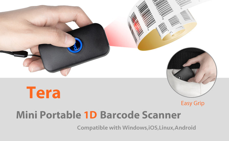 Tera 1D Laser Mini Barcode Scanner Bluetooth Bar Code Scanner Portable Bar Code Reader 3-in-1 USB Wired & 2.4G Wireless & Bluetooth