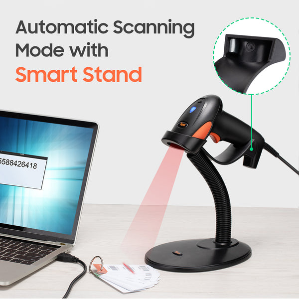 Tera Handheld 1D Barcode Scanner USB Wired with Smart Stand Intelligent Auto-sensing Scanning for Ultra Long Barcode model: 6900