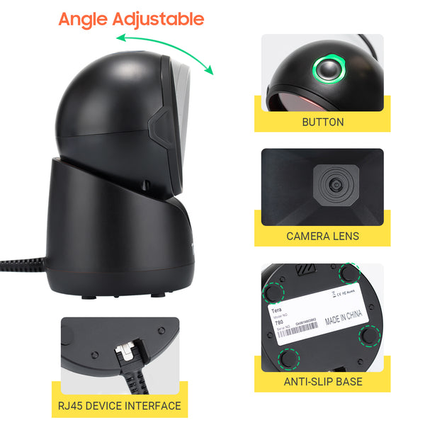 Tera Desktop Barcode Scanner 2D QR 1D USB Wired Omnidirectional Handsfree Platform Automatic for Market Retail Store Phone Screen Payment model: 780