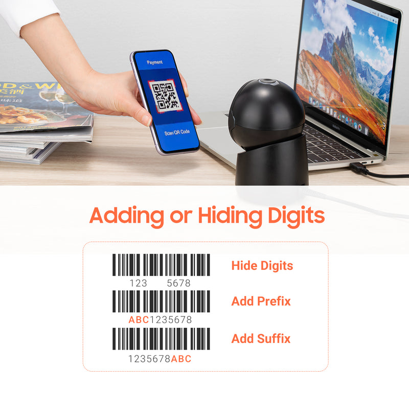 Tera Pro 2D Barcode Scanner USB Desktop Omnidirectional QR Wired Automatic Platform Bar Code Reader Automatic Handsfree 1D Wired Scanner for Market Retail Store Mobile Phone Screen Payment