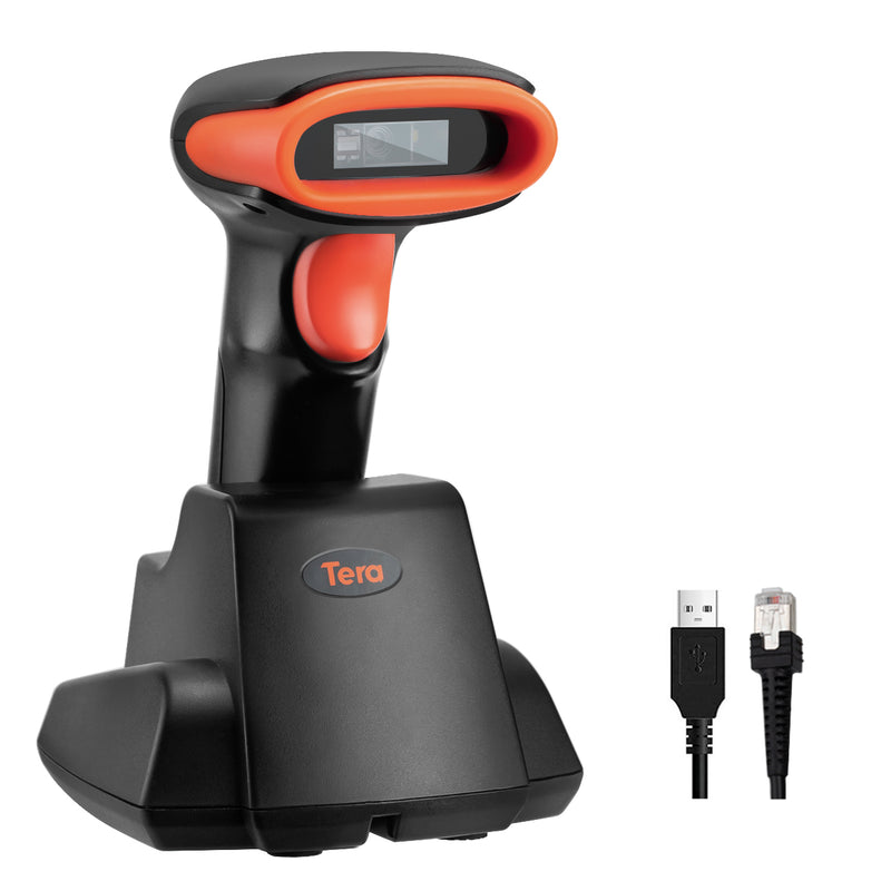 Tera Wireless Barcode Scanner 2D QR with USB Cradle Charging Cradle model: D6100