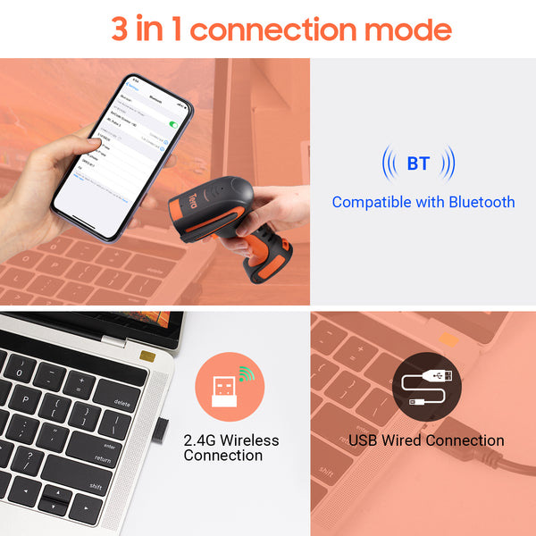 Tera 1D Bluetooth Barcode Scanner Wireless Laser Compatible Bluetooth&2.4G Wireless&USB Wired Extreme Drop Resistance model: 8100