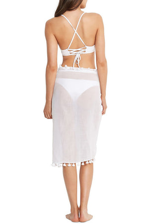 Beachedit White Cotton Gauze Sarong
