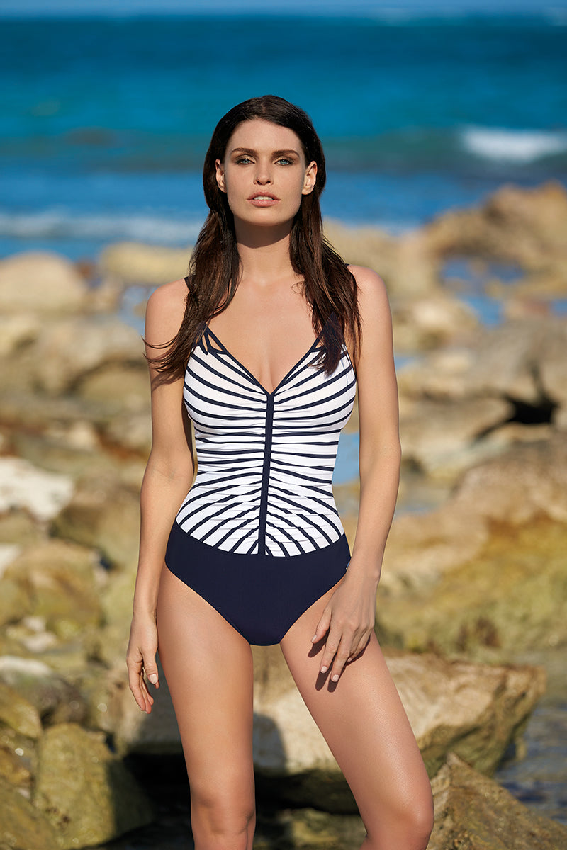 Front Gathered 1Pc Navy/Stripe