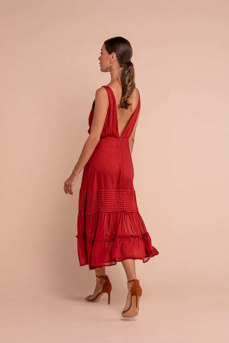 Lauren Midi Dress Red