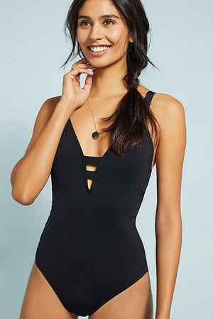 Active Deep V One Piece Black