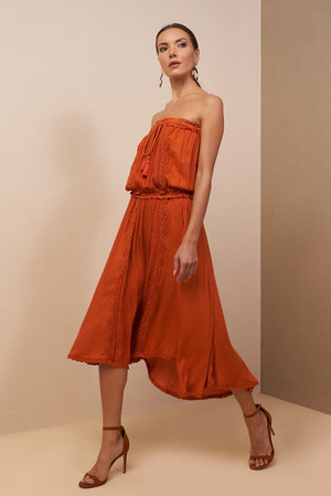 Jasmine Midi Dress Burnt Orange