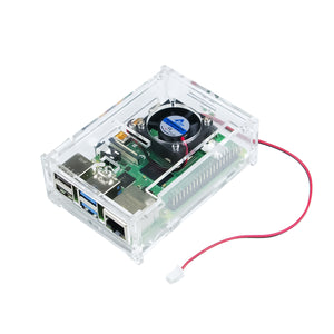 Raspberry Pi 4 Case, Acrylic Case with Cooling Fan for Raspberry Pi 4 Model B/Pi 3B+