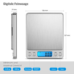 Brifit Feinwaage Digitalwaage 500g-0.01g / mit PCS & Tara-Funktion,LCD-Display und Auto-Off