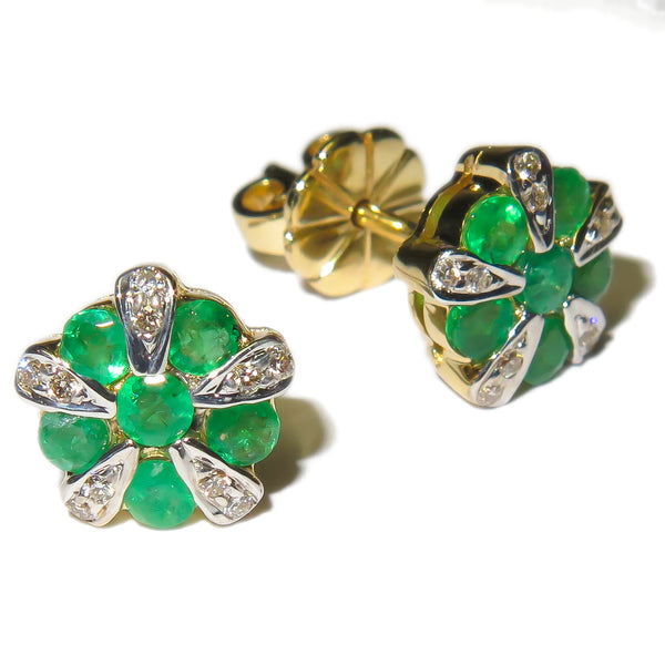 Emerald And Diamond Ear Studs
