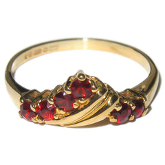 Garnet Wishbone Ring