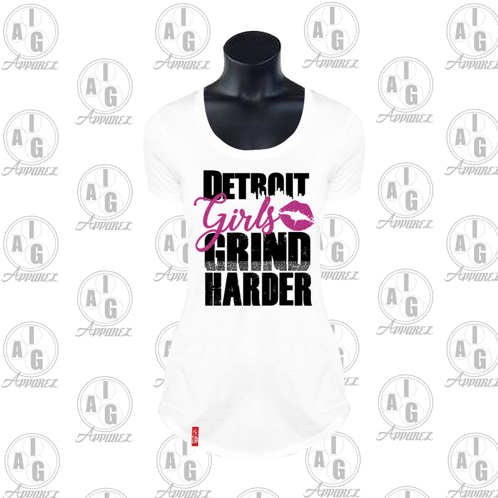 Detroit Girls Grind Harder Ladies Scoop Tee Plus