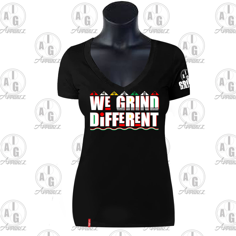 We Grind Different Ladies VNeck Tee