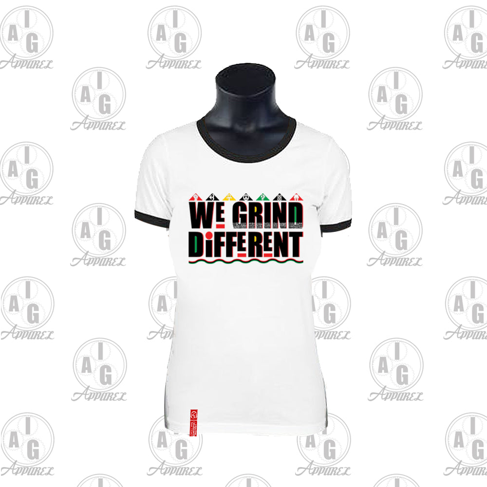 We Grind Different Ladies Ringer Tee