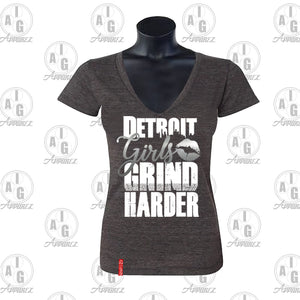 Detroit Girls Grind Harder Ladies V-Neck Tee