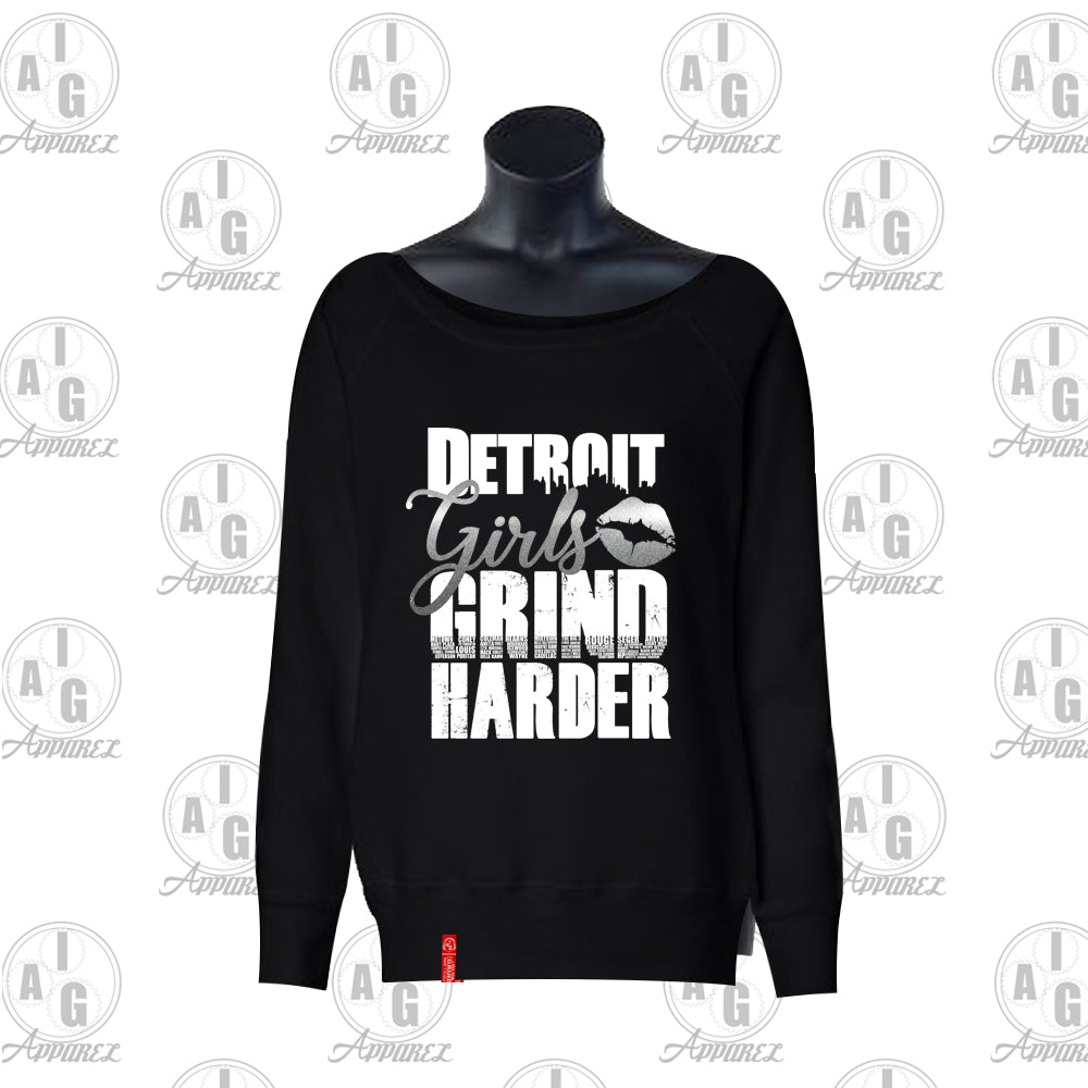 Detroit Girls Grind Harder Ladies Wide Neck Sweater