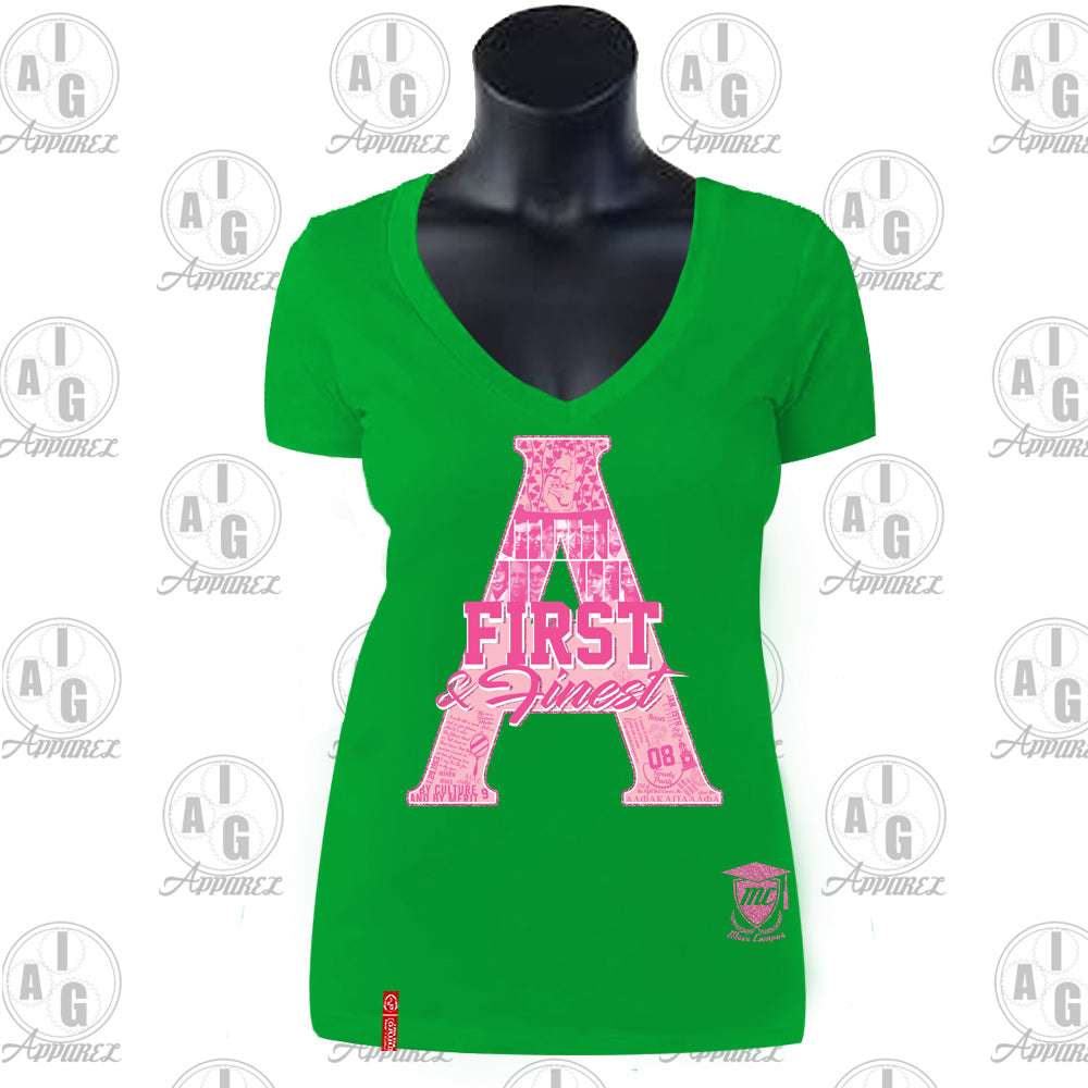 First and Finest Ladies V-Neck Tee