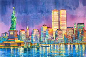 Statue of Liberty at night by Roustam Nour fine art giclée print