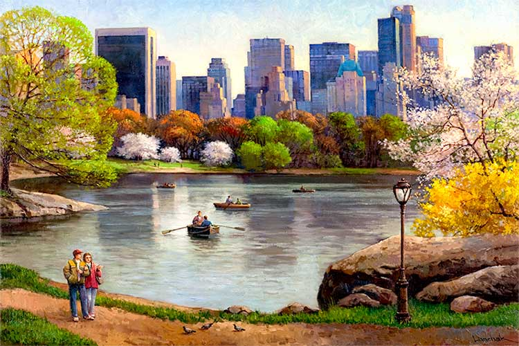 Central Park Lake By Max Lanchak Painting For Sale Nyart Com