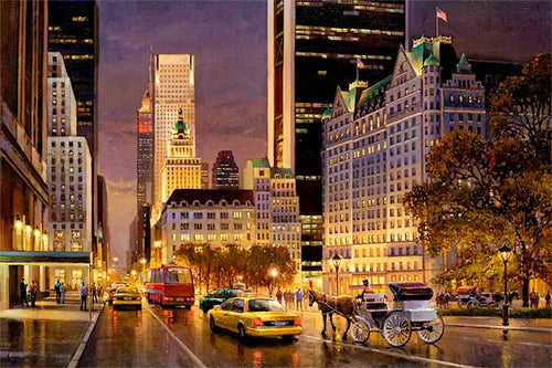Fifth Avenue at night by Max Lanchak fine art giclée print on canvas