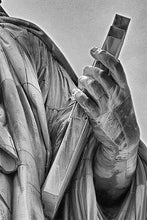 Load image into Gallery viewer, Lady Liberty black and white photograph by Russel Bach artwork details