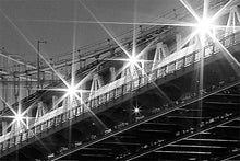 Load image into Gallery viewer, Manhattan Bridge black and white photograph by Russel Bach artwork details