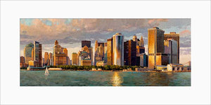 New York Downtown by Max Lanchak panoramic matted artwork