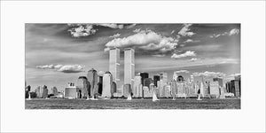 New York Skyline panoramic black & white photograph by Alex Leykin matted artwork