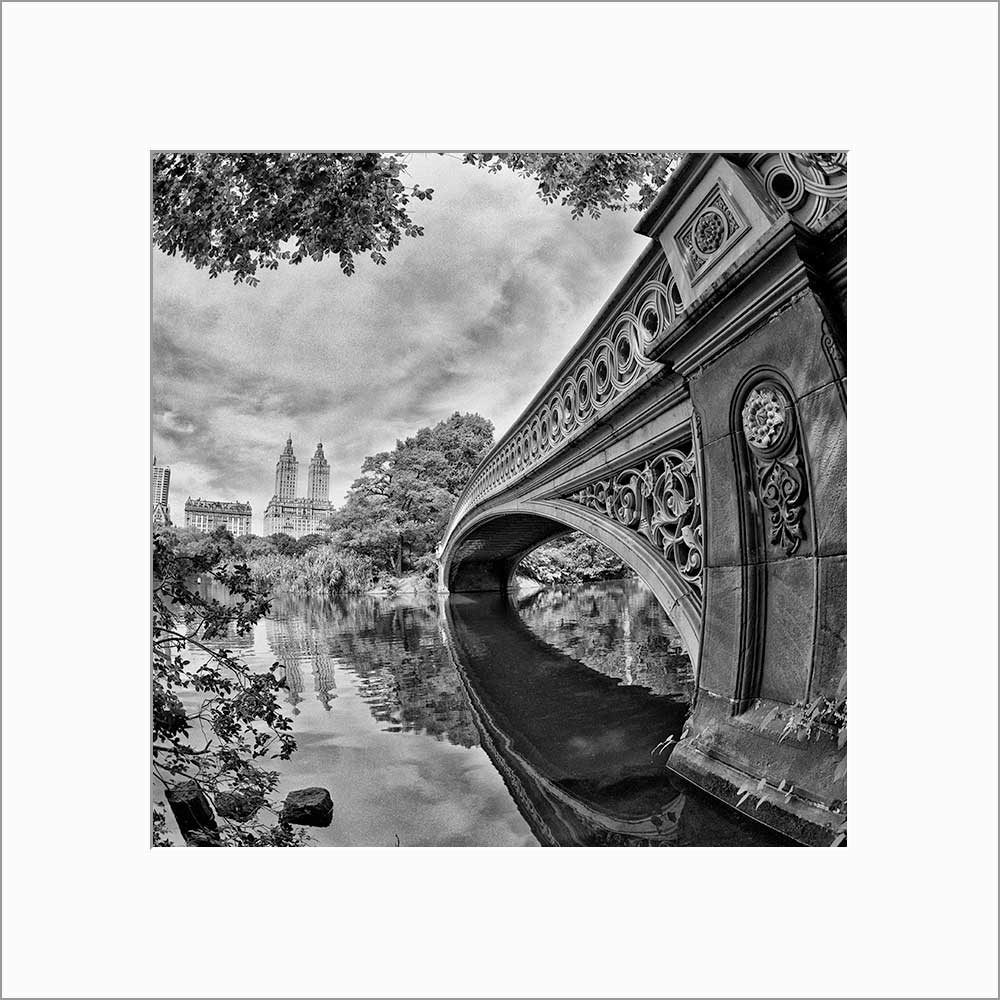 Bow Bridge black & white photograph by Alex Leykin matted artwork