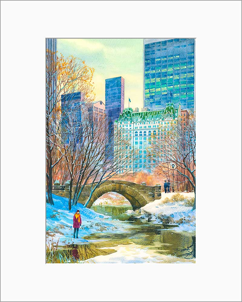 Central Park South by Roustam Nour matted artwork