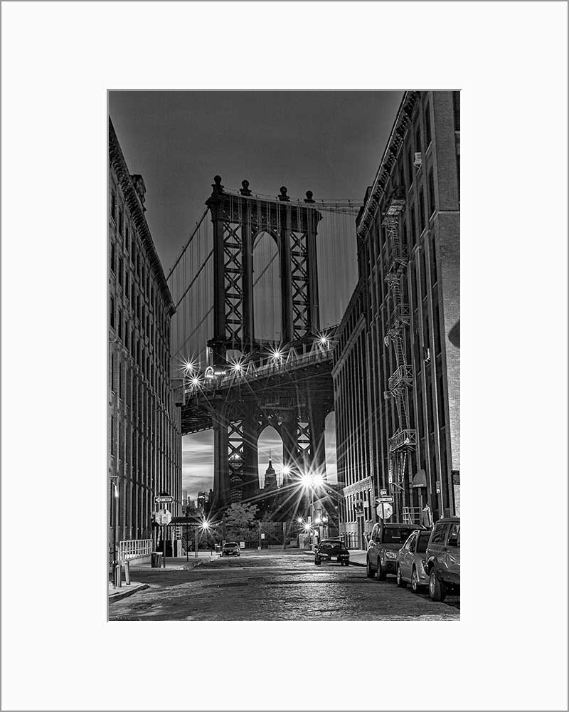 Manhattan Bridge black & white photograph by Russel Bach matted artwork