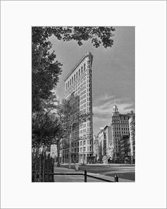 Flatiron Building black & white photograph by Alex Leykin matted artwork