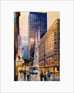 St. Patrick's Cathedral by Max Lanchak matted artwork