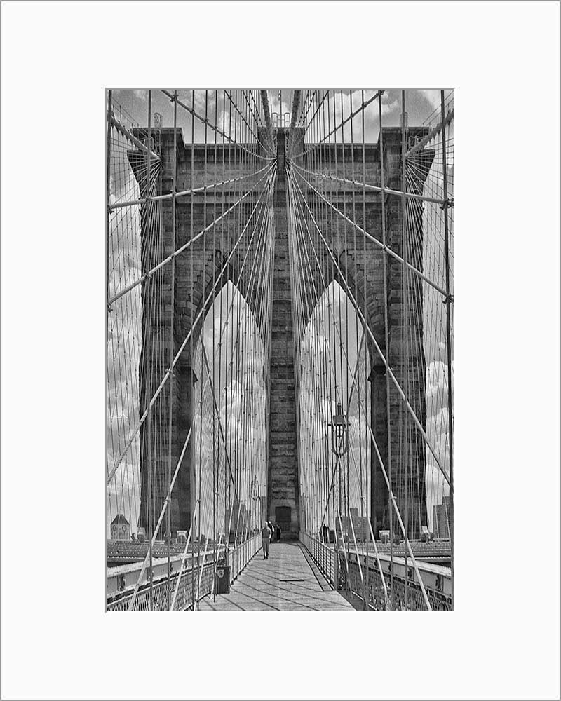 Brooklyn Bridge Web black & white photograph by Alex Leykin matted artwork