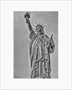 Lady Liberty black and white photograph by Russel Bach matted artwork