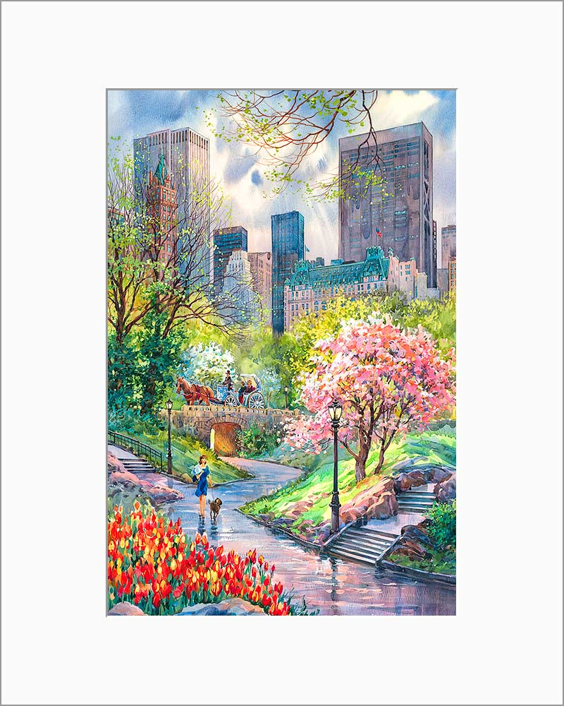 Spring in Central Park by Roustam Nour matted artwork