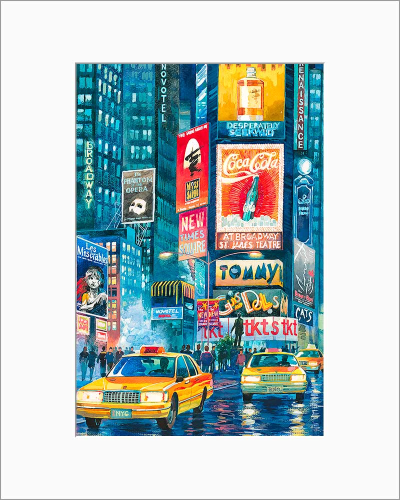 Times Square by Roustam Nour matted artwork