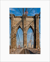 Load image into Gallery viewer, Brooklyn Bridge Web color photograph by Russel Bach matted artwork